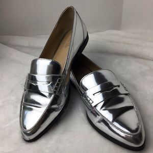 Michael Michael Kors Silver Loafers Size 7.5